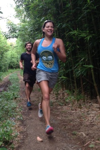 Dallas and I break into a run during a hike on the Manoa Falls trail