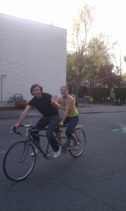 Our shaky attempt to ride the tandem around the block