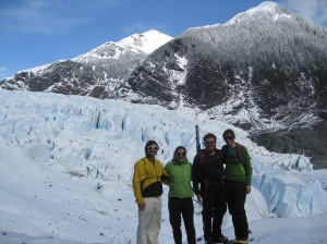 Dallas, me, Jason amd Christy in front of Mendenhall Glacier