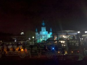 St Louis Cathedral at Jackson Square is all lit up for the Super Bowl