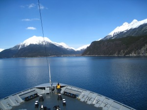 View from the ferry between Juneau and Skagway