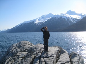 Dallas, standing at Yakutania Point on the day of our arrival in Skagway