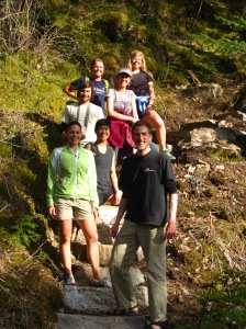 hiking along the Chilkoot Trail with (top to bottom) Holly, Kelly, Zabeth, Dallas, Kristina and Kyle