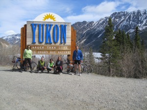 Me, Zabeth, Kristina, Kelly and Kyle cycling into the Yukon Territory