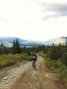 Biking up Montana Mountain in Carcross, YT