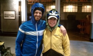 Adam and I in high spirits before feeling utterly defeated by the cold rain and washed out roads