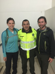 Before leaving the station we take a photo with Jose, one of the friendly police officers who helped us get through the long day.