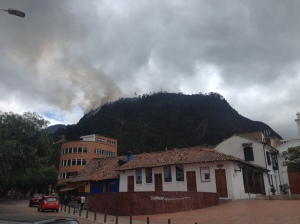 Notice the fire on the left side of Monserrate, and the church on top. It's not visible in the photo, but we could see the orange flames.
