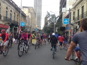 During Ciclovia you can find all sorts of people enjoying the streets without car traffic. Cyclists, pedestrians/runners, street vendors/performers and dogs dominate the roads from 7 to 2 every week.