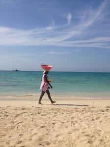 One of the women selling fruit on Playa Blanca