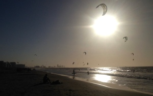 Kitesurfing is pretty popular here at La Boquilla beach.